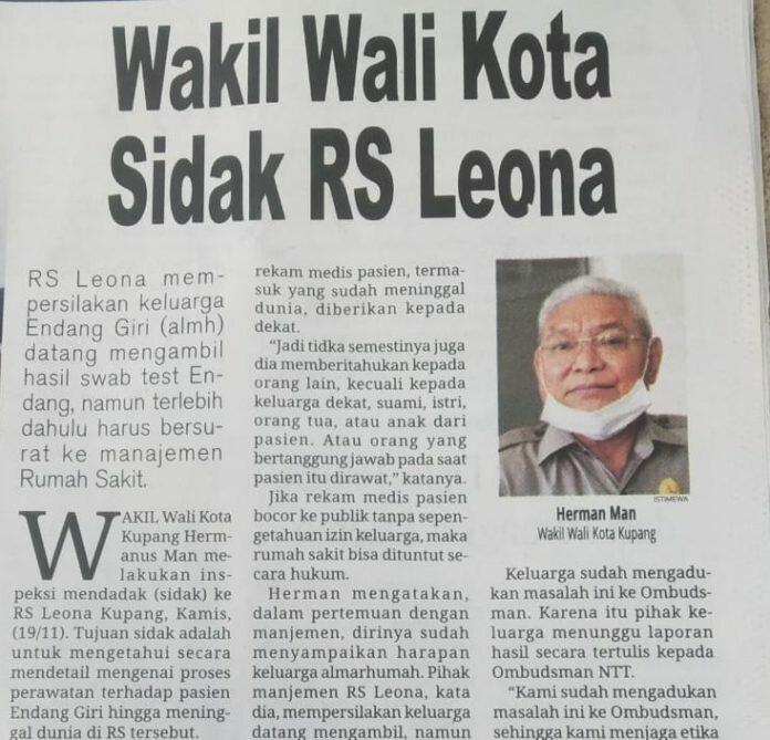 Berita Harian Victory News edisi Jumat 20 November 2020. Di sini Manajemen RS Leona meminta keluarga Alm DR Endang E Giri mengirim surat resmi untuk mendapatkan hasil swab dan rekam medis. Padahal keluarga telah mengirim surat sejak 12 November 2020 dan tidak digubris. (Foto: Suryaflobamora.com)